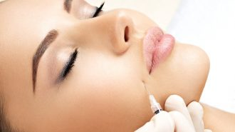 Beauty woman botox injections. Treatment with botox hyaluronic collagen  injection. Cosmetology and skincare. Woman in beauty salon. plastic surgery clinic.
